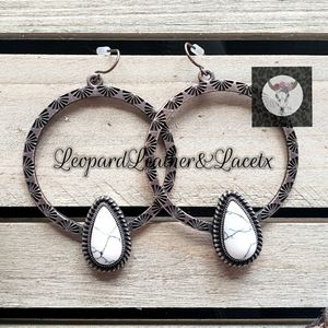 Jewelry - White Stone Drop Hoops